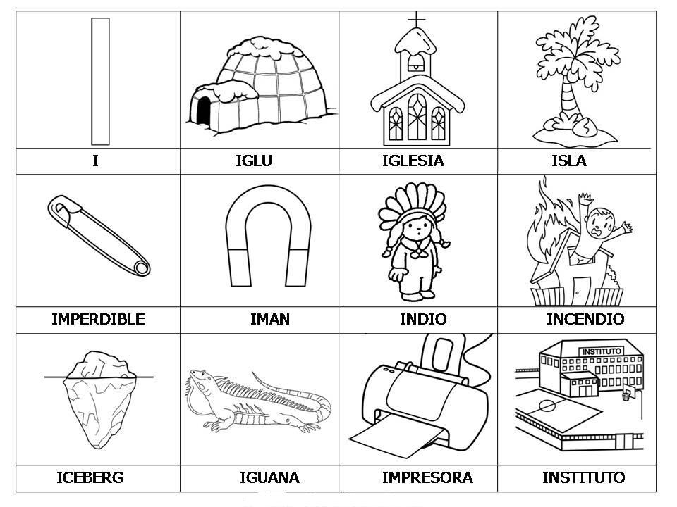 Laminas con dibujos para aprender palabras y colorear con letra: I