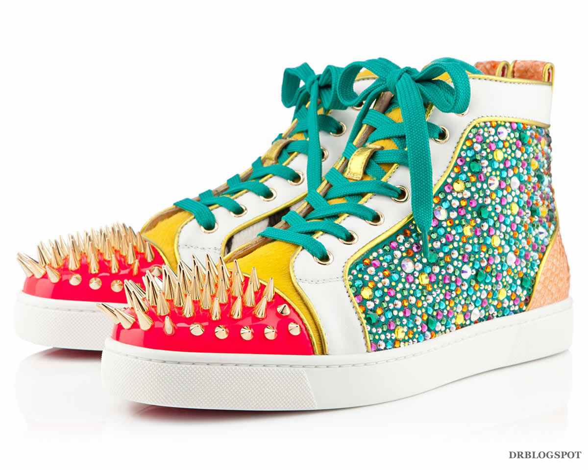6492f8a7435 Source  Christian Louboutin – No Limit Flat Python Strass Spikes  Multicolour Men Shoes