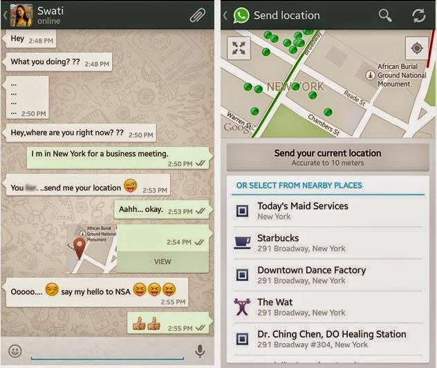WhatsApp location hacking