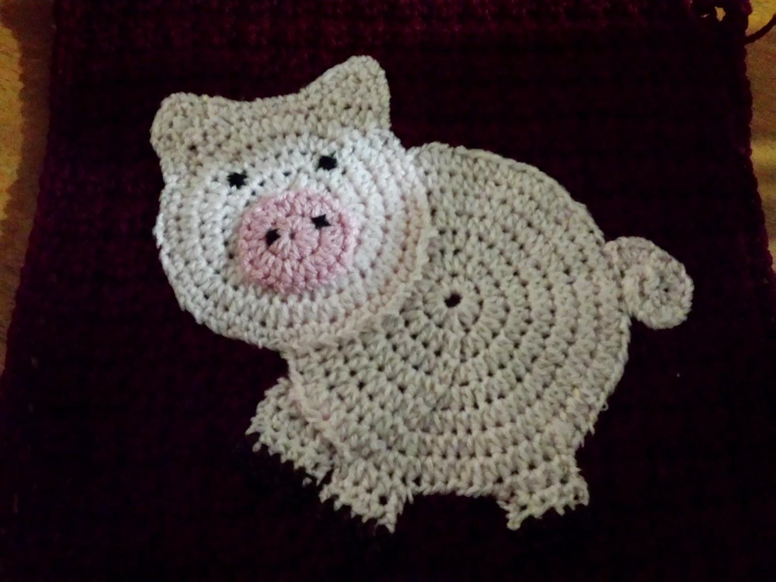 Blooming lovely wip crochet farm animals blanket pig applique