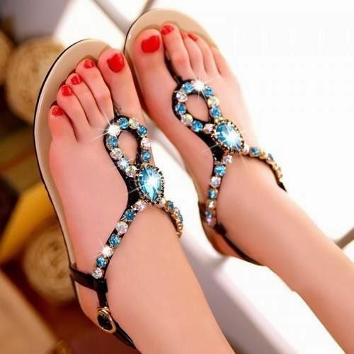 Romantic Bohemia Style Rhinestone Sandals