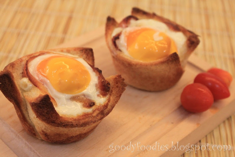 ... cherry tomatoes, which go nicely with the bacon, egg and toast cups