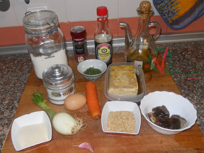 Ingredientes para las albóndigas de tofu.