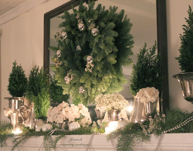 French Country Christmas Decorating Ideas: A Quiet Christmas Mantel