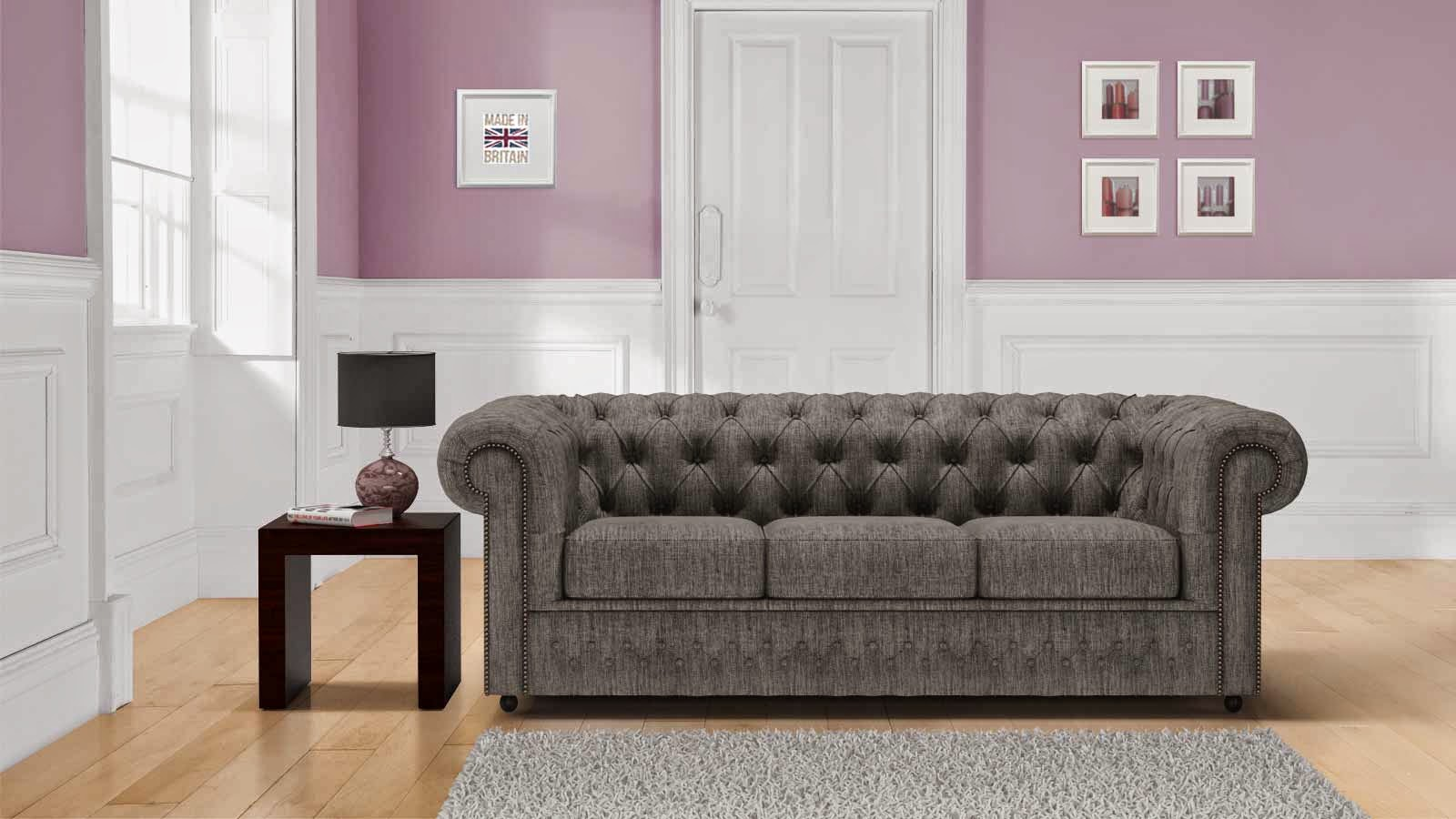 Grey classic chesterfield sofa