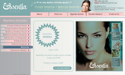 página web de Essentia Clinic: clínica de cirugía y medicina estética en Puerto Banús, Málaga