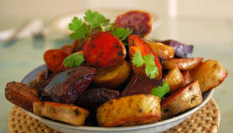 Roasted potatoes and beetroot