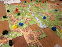Carcassonne - A close up of the board near the end of the game