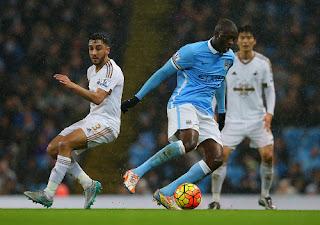 Gol Yaya Toure di Menit Pertandingan Antar City Taklukkan Swansea 2-1