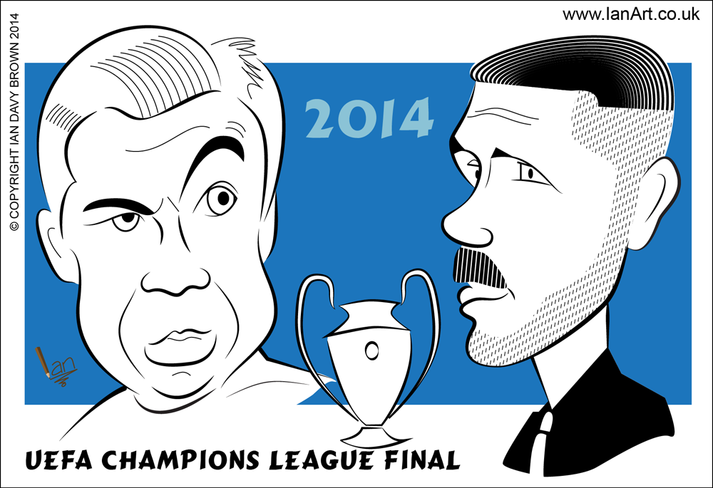Real Madrid's Carlo Ancelotti and Athletico Madrid's Diego Simeone caricatures
