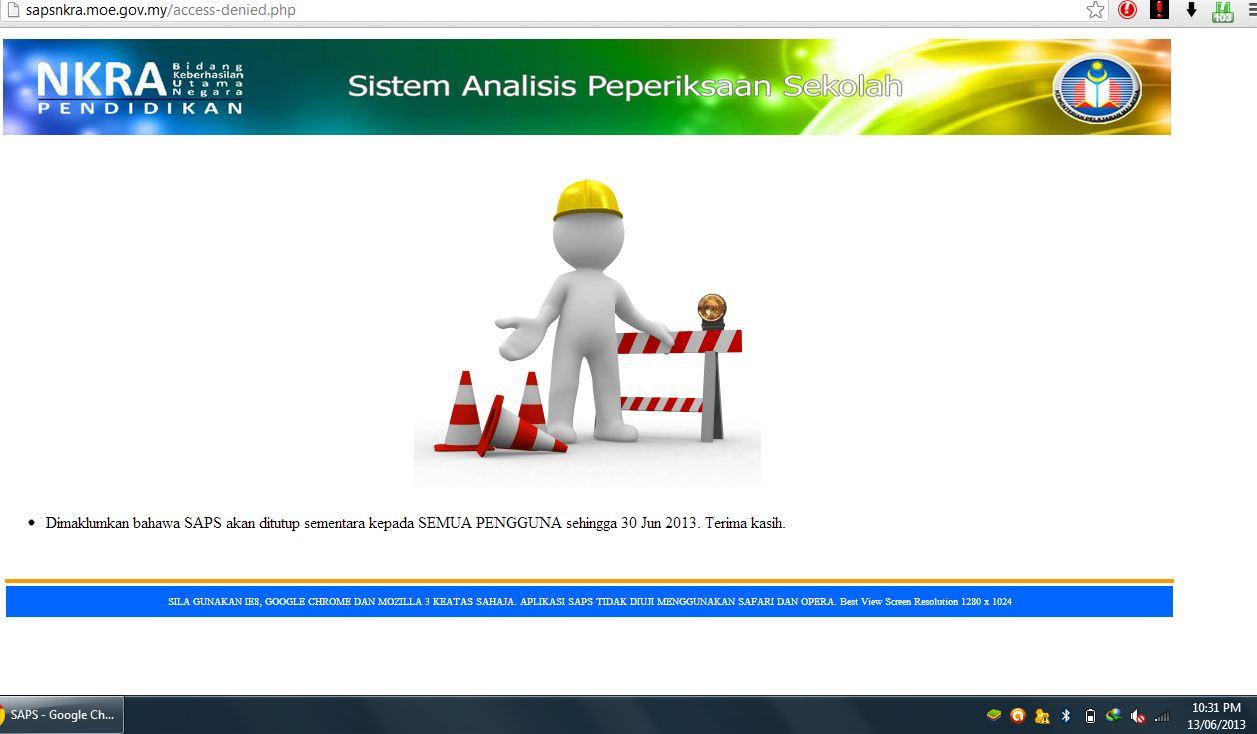 Penyelenggaraan (Sekali Lagi) SAPS sehingga 30 Jun 2013