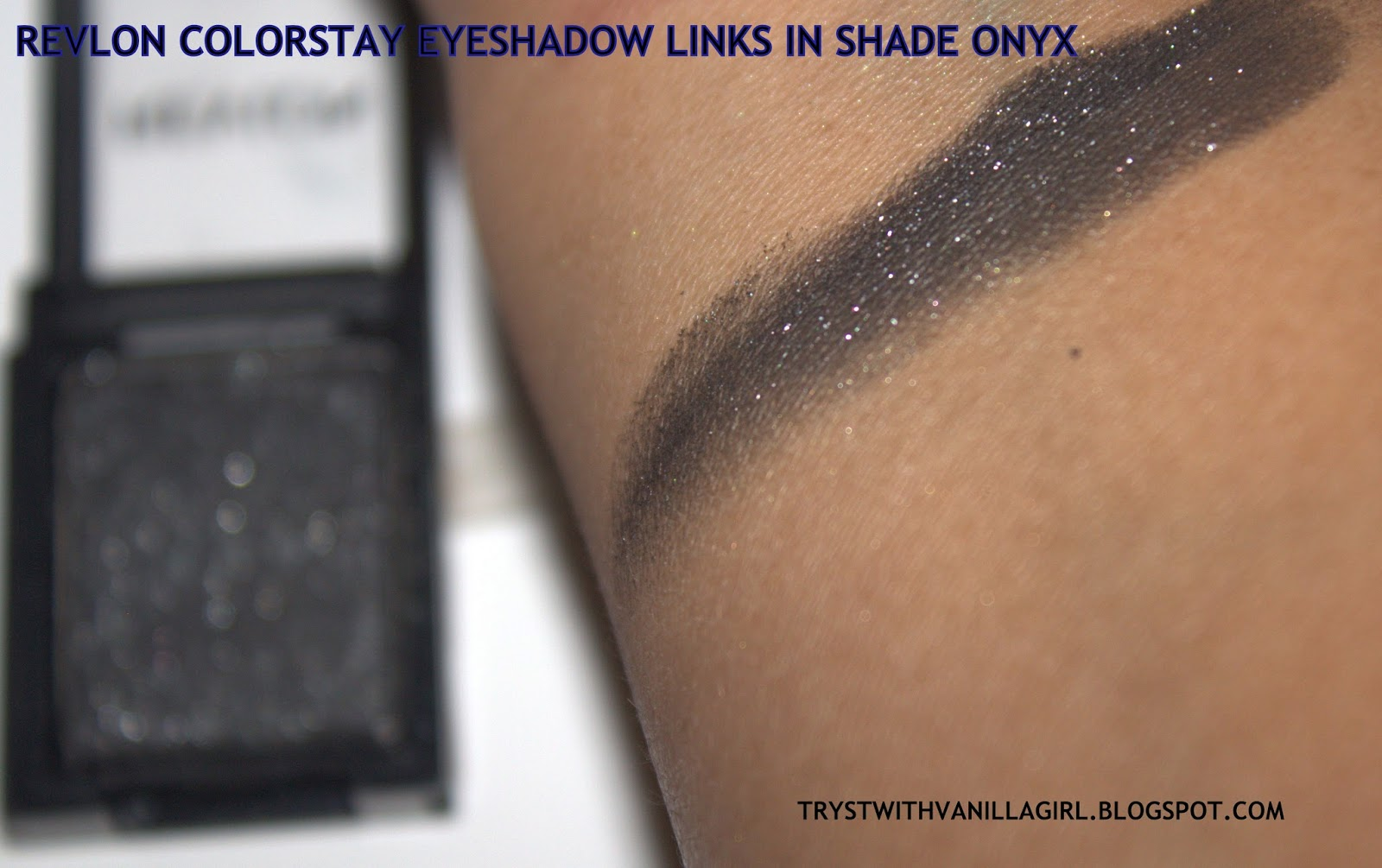 Revlon's Colorstay Shadowlinks,ONYX,SWATCH ,REVIEW,INDIAN MAKEUP,INDIANBEAUTYBLOG