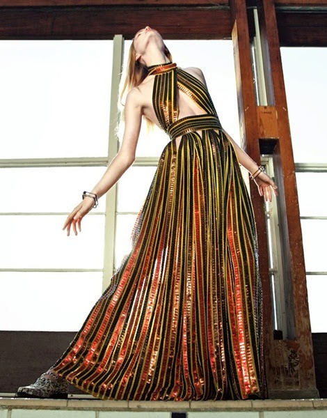 Givenchy 2014 SS Editorial :Metallic Luxe Golden Sequins Hot Dress