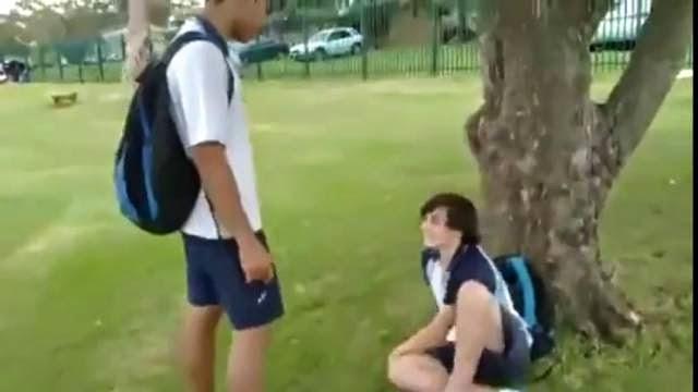 Un bully attaque un jeune ninja, il réplique avec un super coup de pied