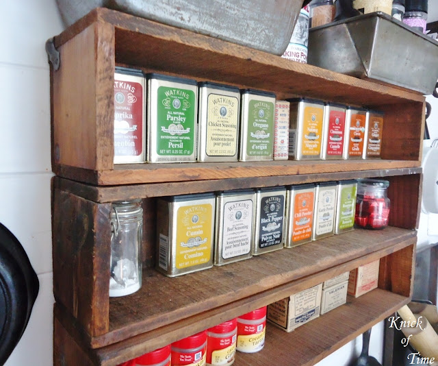 Repurposed wood crates spice racks in farmhouse kitchen - www.KnickofTime.net