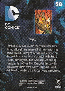 Back of New 52 DC Comics trading card #58 Vixen