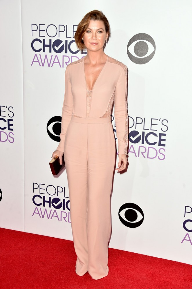 Ellen Pompeo in a plunging jumpsuit at the 2015 People's Choice Awards in LA