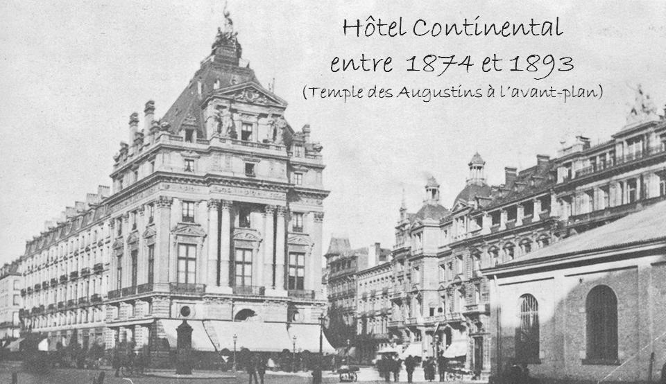 Hôtel Continental à l'intersection des boulevards du Nord et de la Senne  sur la future place de Brouckère encore occupée par le Temple des Augustins - Bruxelles-Bruxellons