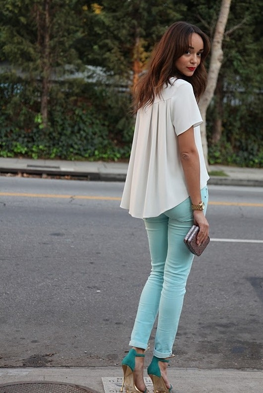 White Is A Color That Goes Well With Wild All So Impossible To Leave Out Of This List Mint Green Pants Shirt Blouse Sweater Or Blazer In