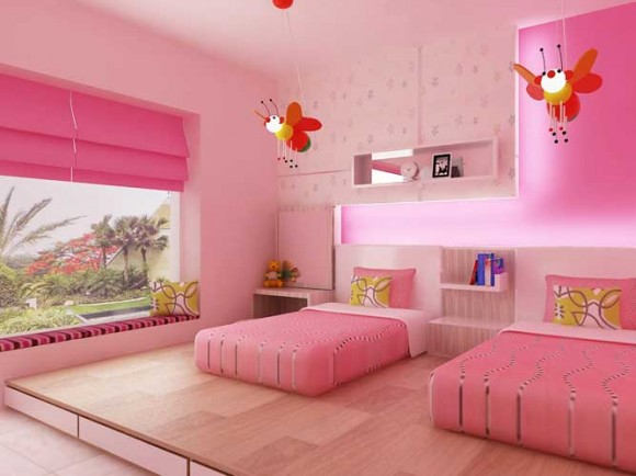 Interior design decorating ideas beautiful twin girl for Pink bedroom designs for teenage girls