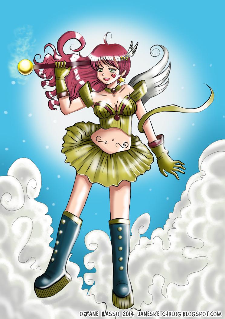 Dibujo digital de una chica manga ángel. Hecho con clip studio paint.