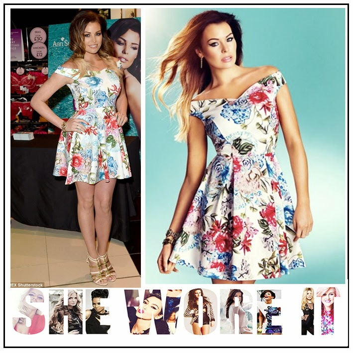 Bright, Celebrity Fashion, Celebrity Style, Dress, Floral Print, High Waisted, Jessica Wright, Multicoloured, Off Shoulder, Pleated, Skater Dress, Sleeveless, The Only Way Is Essex, TOWIE, White,