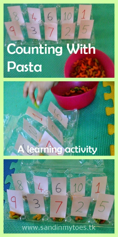 Pasta counting activity for learning numbers