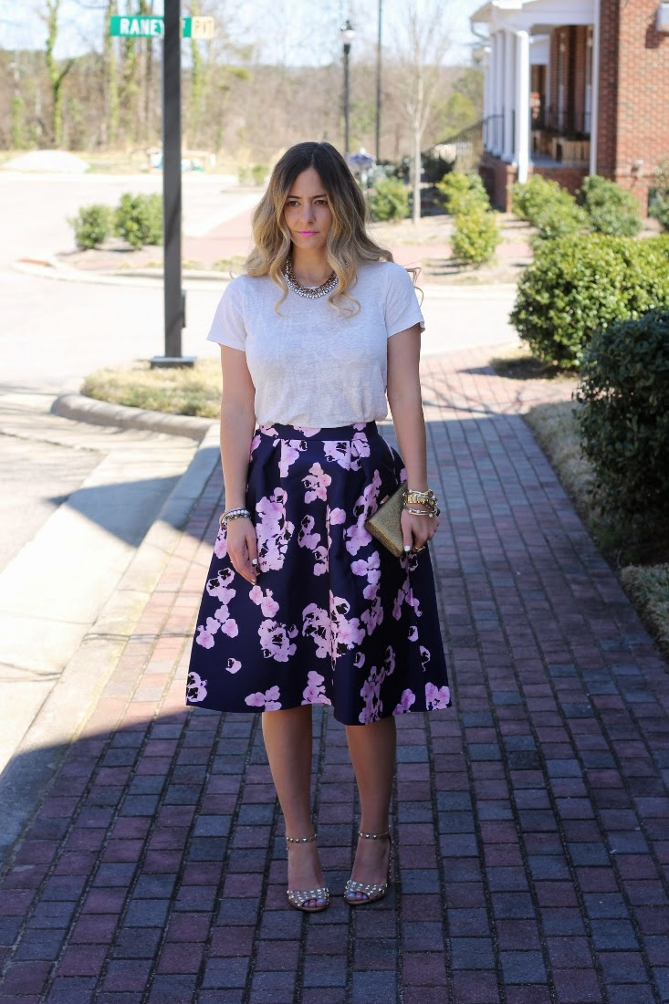 Purple Floral Print Midi Skirt with Tee Shirt