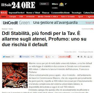 """2012.12.19+S24O+TAV+e+Università La bella spesa pubblica """"da buon padre di famiglia"""" dello stato italiano"""