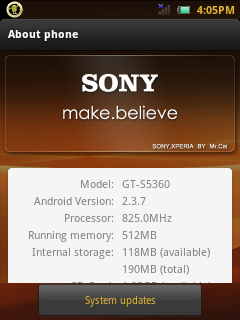 MIUI GINGERBREAD CUSTOM ROM FOR SAMSUNG GALAXY Y GT-S5360 { Sony