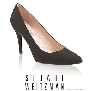 Kate Middleton Stuart Weitzman black suede power pumps.