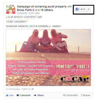 Cara Letak Butang Like Picture Contest di Entry