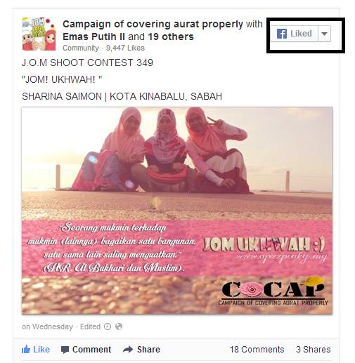 Cara Letak Butang Like Picture Contest di Entry