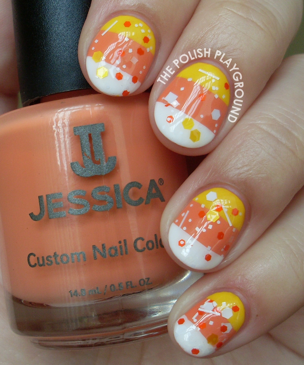 Candy Corn Stripes and Glitter Halloween Nail Art