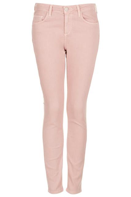 pale pink skinny jeans