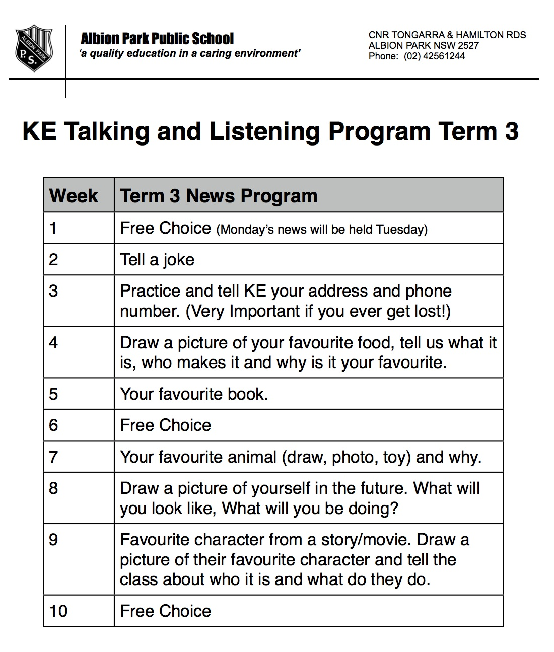 KE Kindergarten: Term 3 News (Show and Tell) Topics