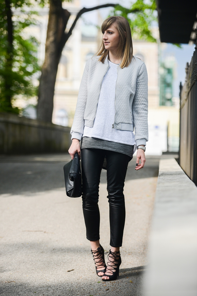 fashion layering, spring layering, lace up heeled sandals, grey bomber jacket, style blogger, fashion blogger