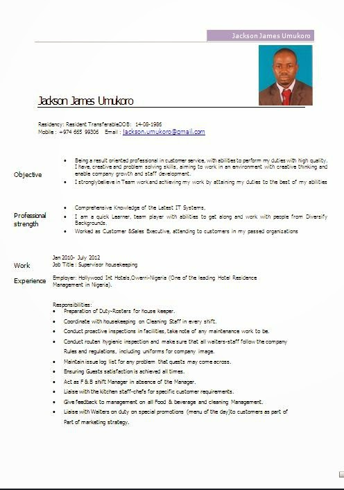 housekeeper resume sample