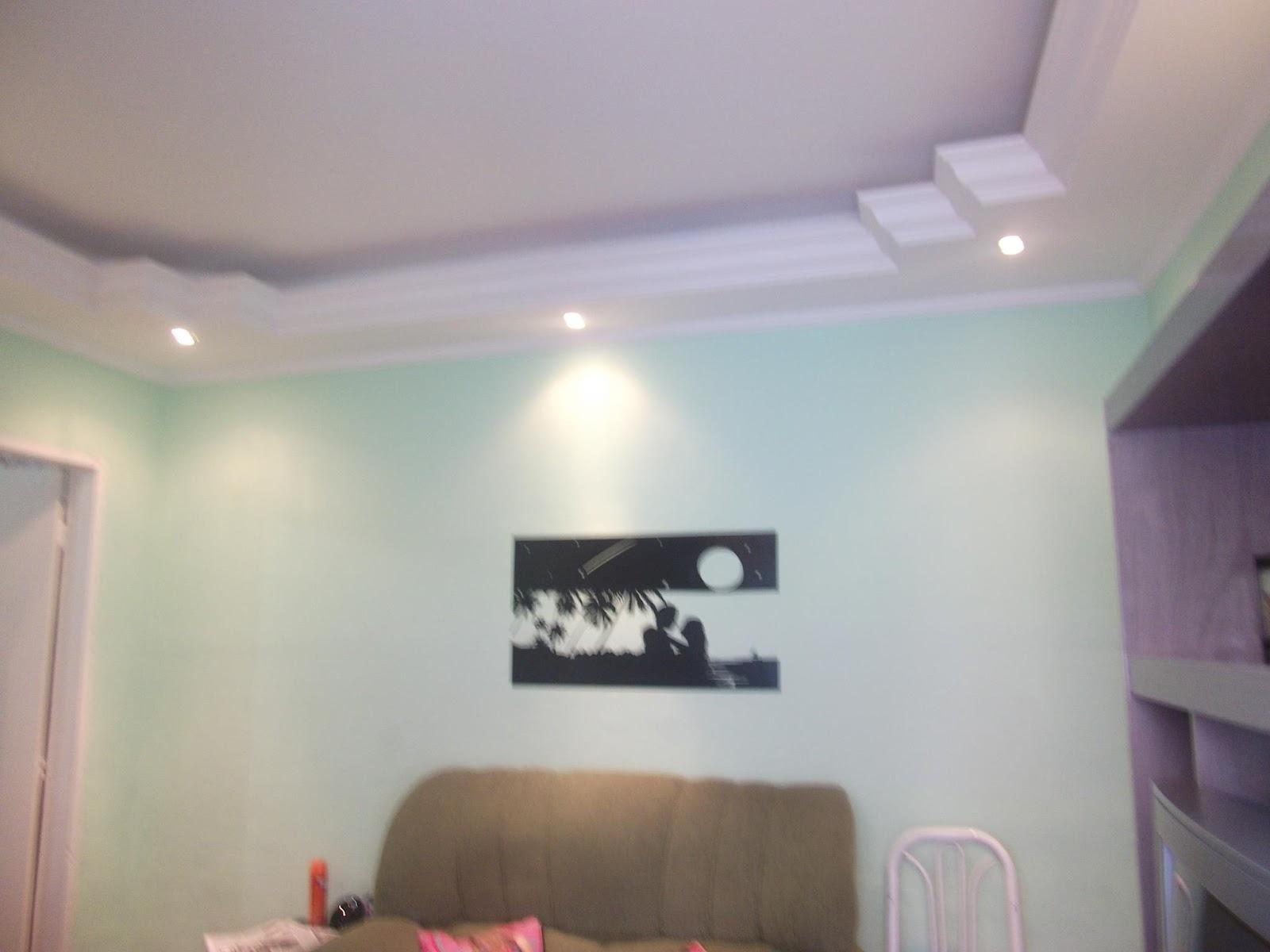 Sanca Gesso Sala 2 Ambientes Iluminao De Painel De Tv Na Sala De  -> Decoracao De Gesso Em Salas