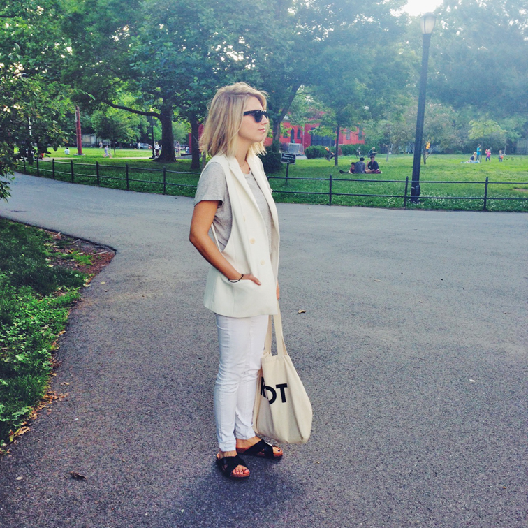 White sleeveless tuxedo vest, white denim. J Brand jeans, H&M sork slides, slip-on sandals, fresh summertime look, what i wore, ootd, outfit of the day