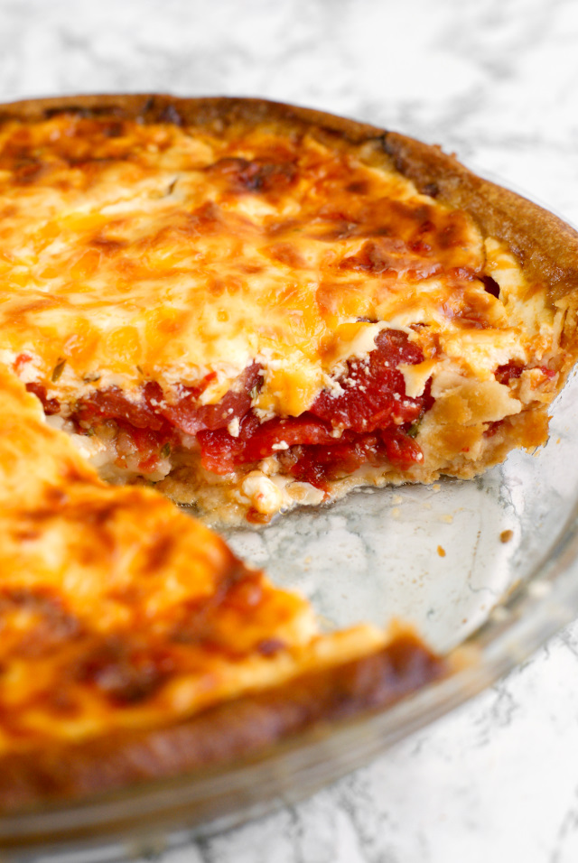 Tomato Pie features fresh Jersey tomatoes, greek yogurt, and sharp cheddar cheese.