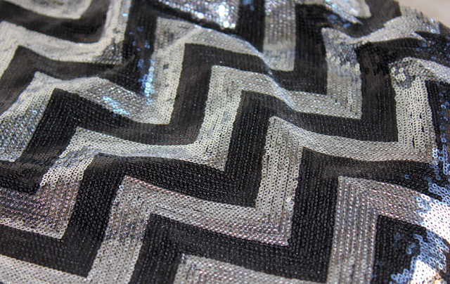Francesca's Collection sequin chevron skirt black silver