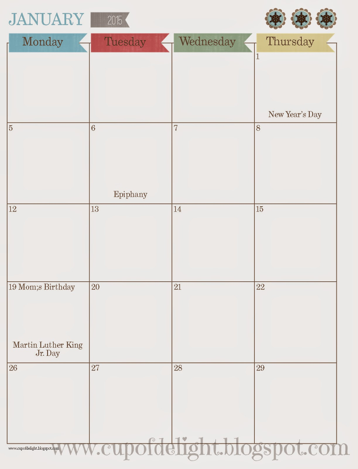 2015 Calendar and Planner Pages (Free!)