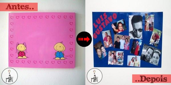 antes e depois, painel de fotos, artesanato, crafts, handmade, atelier wesley felicio,eu que fiz, feito à mão, pintura com spray,como fazer, mural de fotos, azul, rosa,
