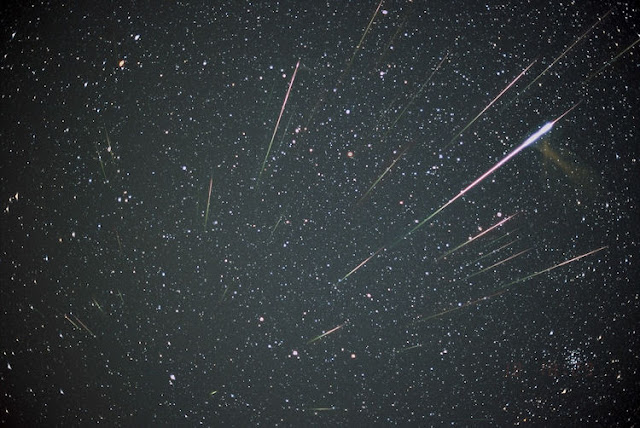A composition of 33 Leonids captured by Koen Miskotte during the night of Nov. 18 to 19, 2001 (via Space.com)