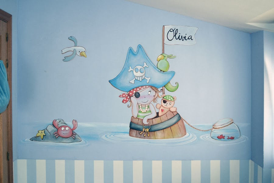 Decopared murales de piratas personalizados for Decoracion pared bebe nino