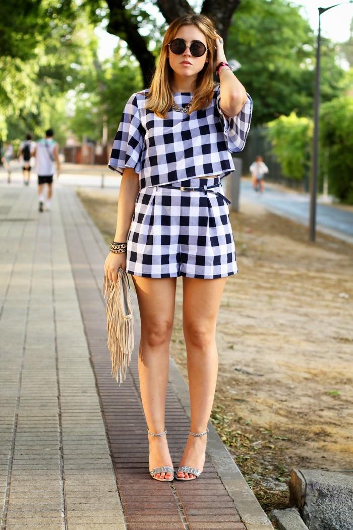 vichy shorts and top