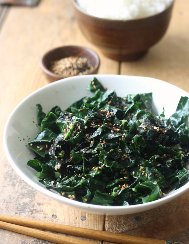 Kale stir fry recipe with Japanese Sesame Seasoning by SeasonWithSpice.com