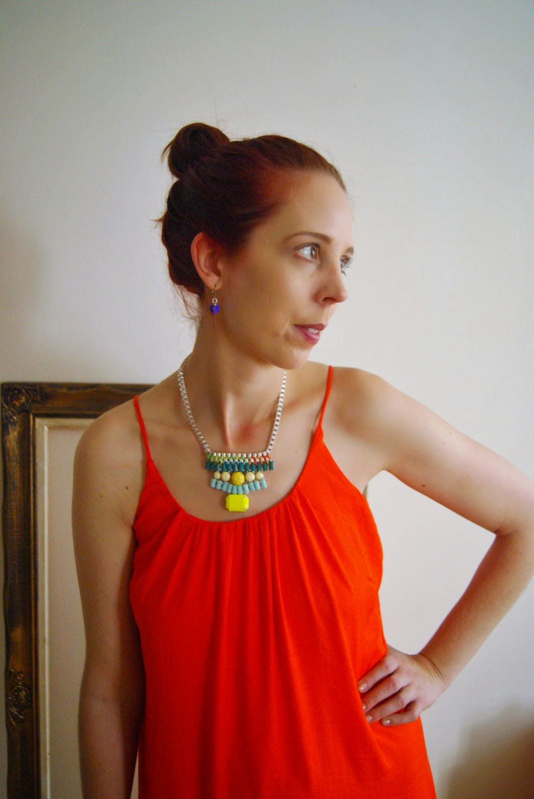 Organic Orange!: Dress from H&M Conscious Collection, Shop For Jayu Necklace, Jessica Shoes from Sears Fashion Style Melanie.Ps Blogger Toronto The Purple Scarf Styletips Outfit