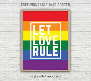 "Gay pride poster free printable ""Let love rule"""